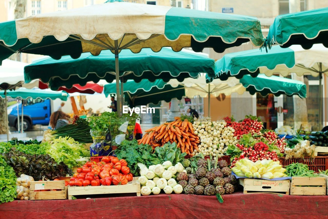 choice, retail, market, food, variation, freshness, food and drink, market stall, for sale, business, large group of objects, abundance, day, healthy eating, shopping, multi colored, vegetable, retail display, arrangement, small business, no people, outdoors, consumerism, sale, street market