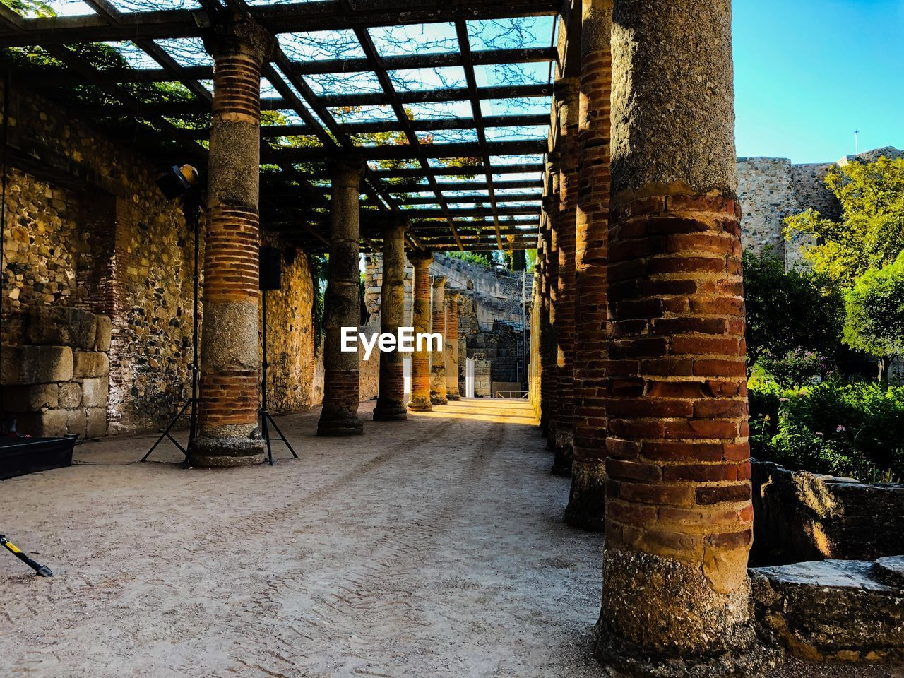 architecture, built structure, architectural column, building, day, no people, nature, outdoors, brick, old, sunlight, tree, direction, wall, arcade, history, the past, solid
