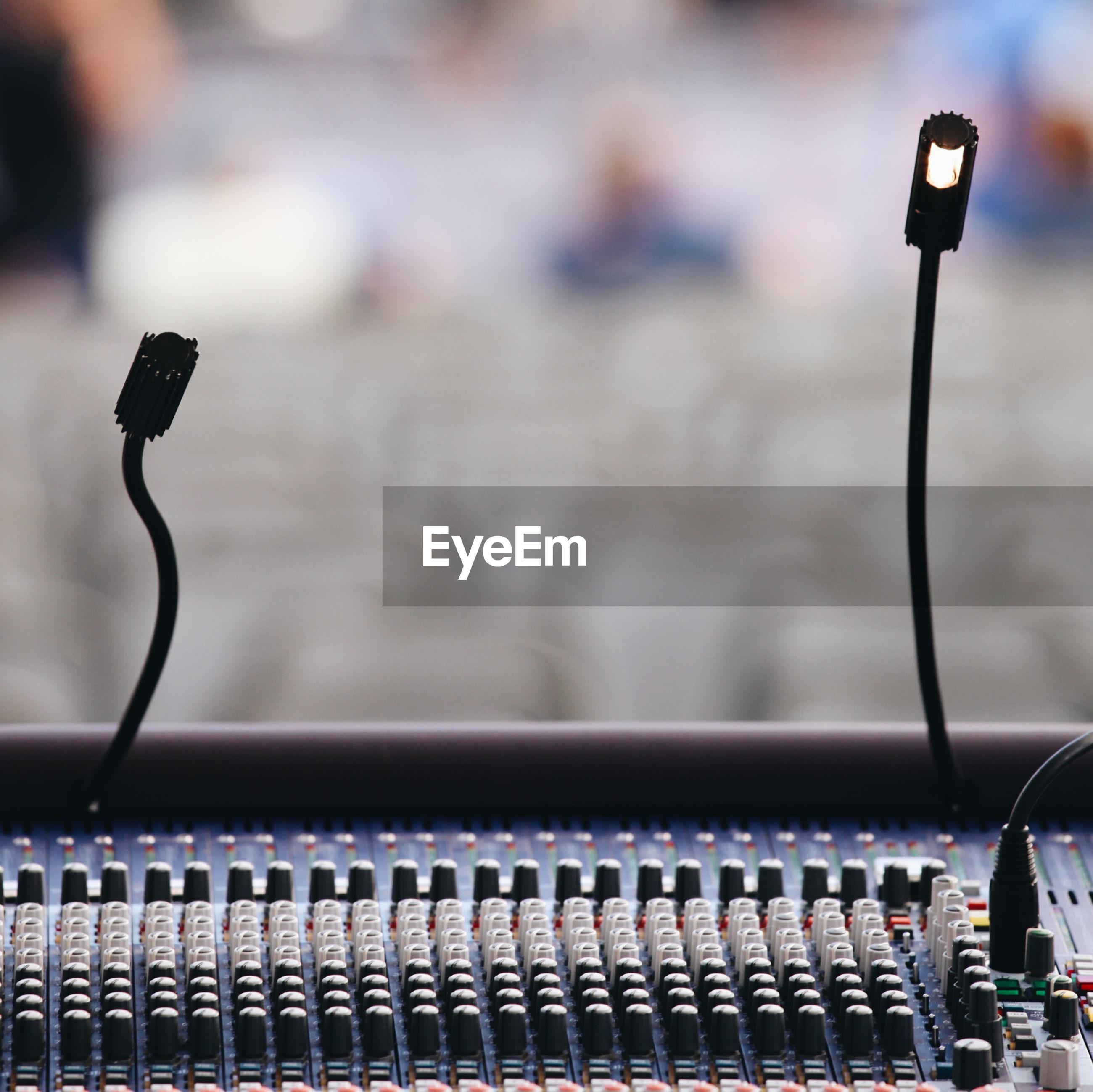 Microphones on sound mixer