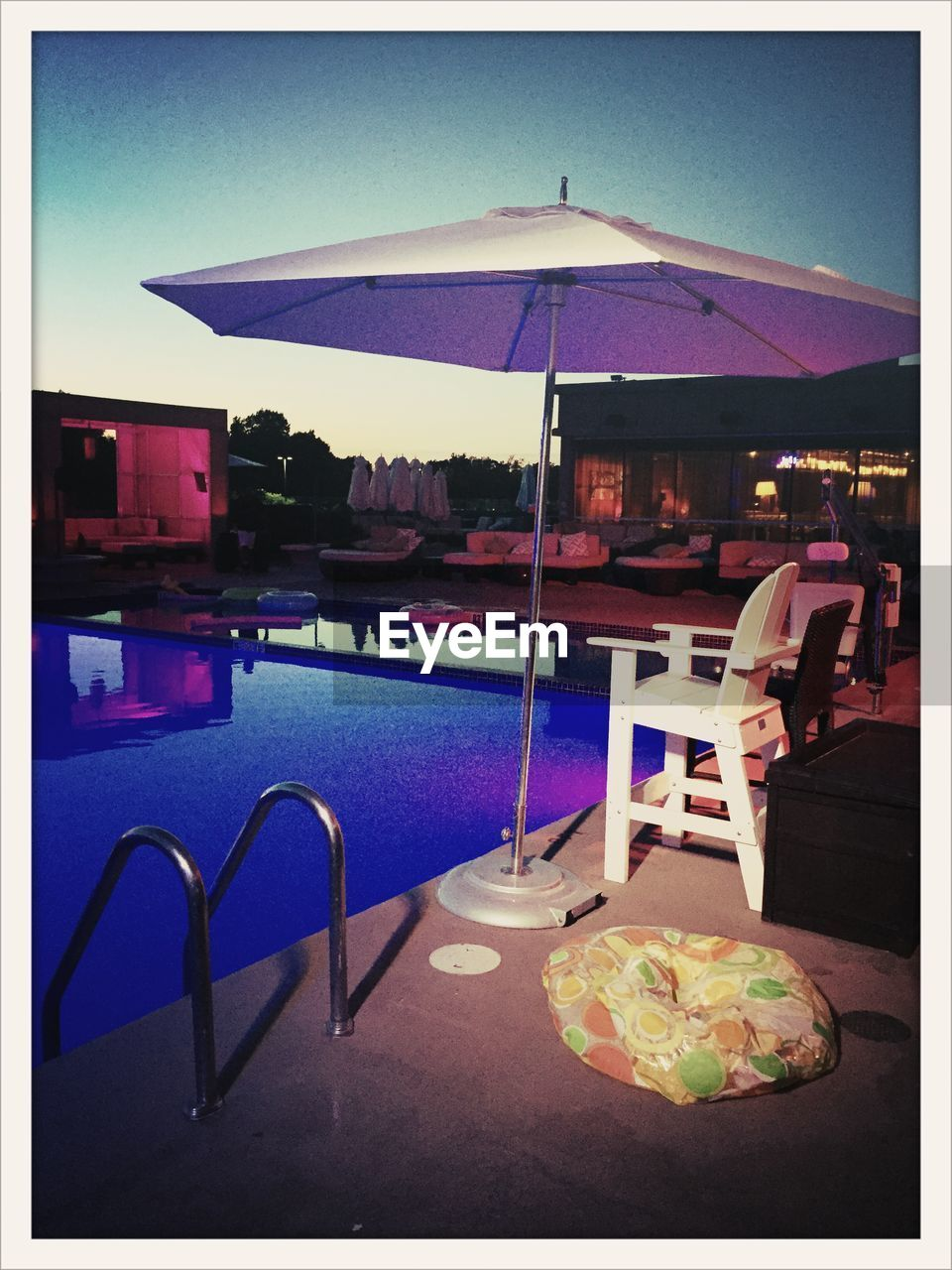 table, restaurant, beach, water, chair, sea, no people, blue, day, outdoors, architecture, swimming pool, nature, food, sky