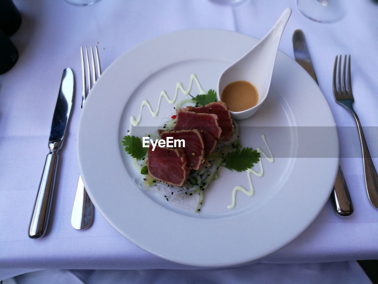 plate, eating utensil, kitchen utensil, food, food and drink, fork, ready-to-eat, table, freshness, table knife, knife, indoors, healthy eating, wellbeing, spoon, still life, household equipment, no people, serving size, meat, meal, breakfast, garnish, setting