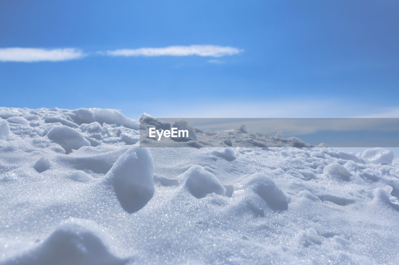 AERIAL VIEW OF SNOW COVERED LAND AND SKY