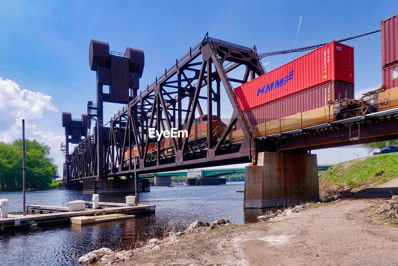 architecture, built structure, transportation, sky, bridge, water, river, connection, bridge - man made structure, nature, no people, day, building exterior, industry, mode of transportation, outdoors, railway bridge, business, machinery