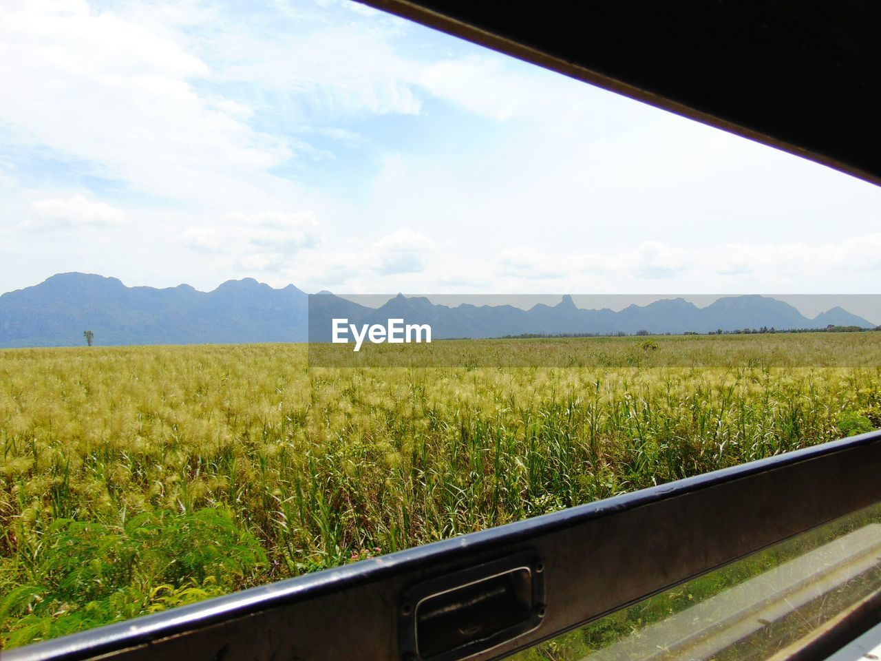 SCENIC VIEW OF FIELD BY MOUNTAIN AGAINST SKY