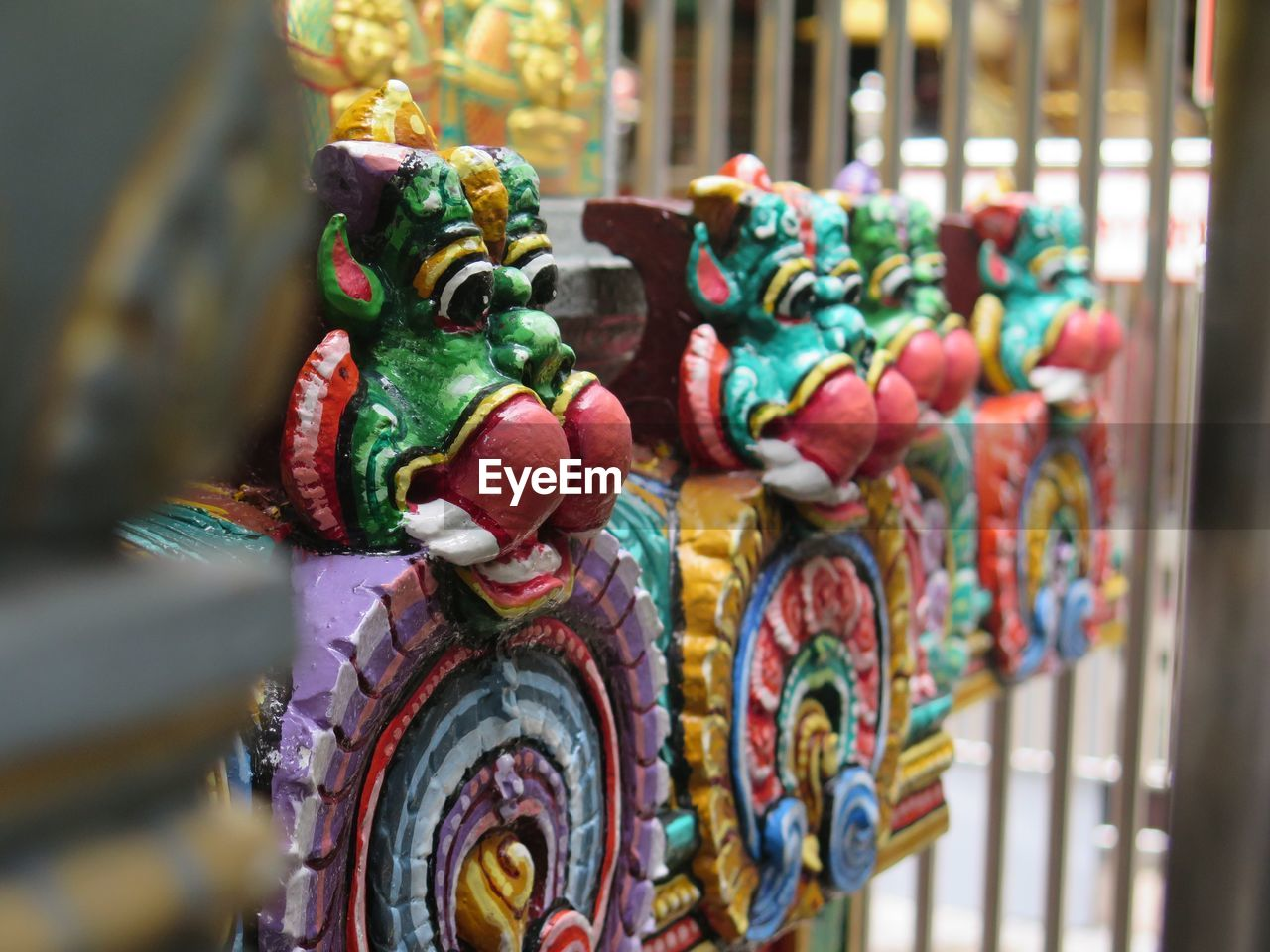 multi colored, statue, day, no people, close-up, outdoors, chinese dragon