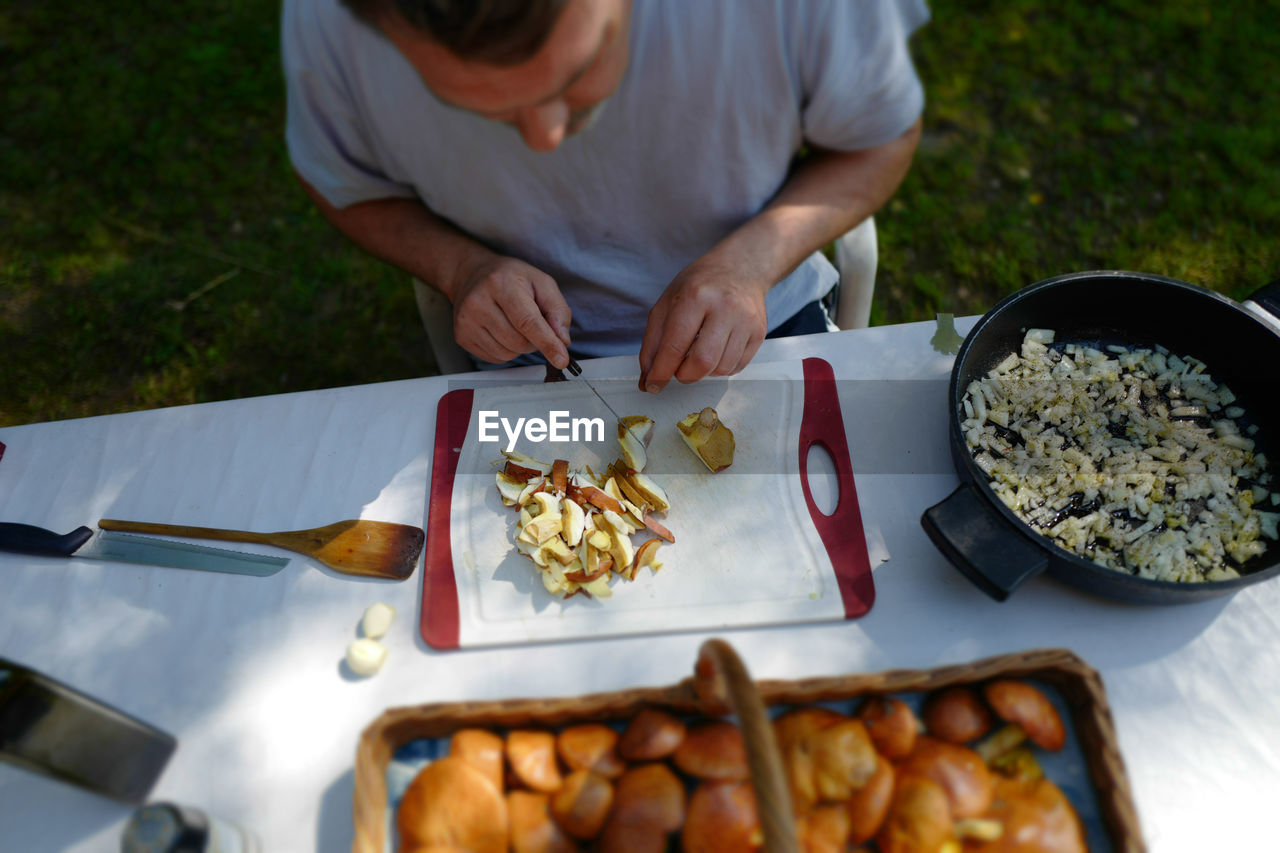 High Angle View Of Man Cutting Mushroom While Sitting At Table In Yard