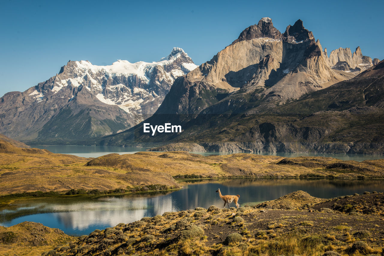 Scenic view of lake and mountains against clear sky