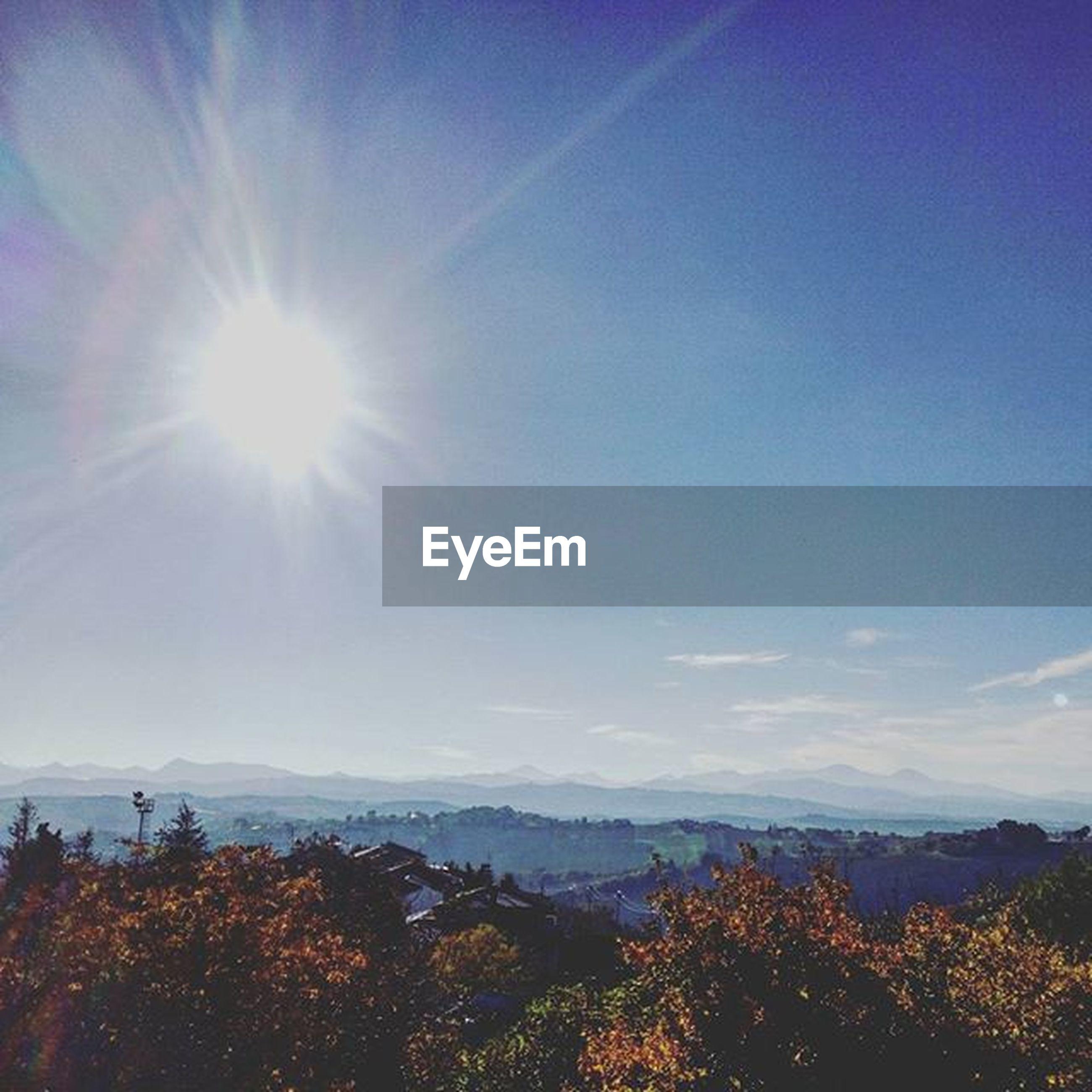 tranquil scene, tranquility, beauty in nature, scenics, mountain, sun, sunlight, sunbeam, landscape, sky, blue, nature, tree, mountain range, idyllic, lens flare, non-urban scene, growth, no people, sunny