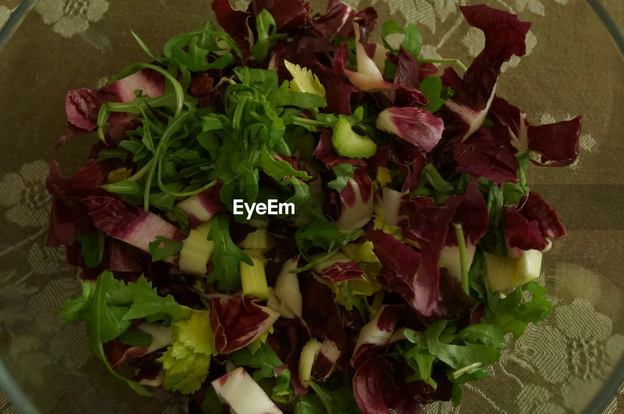 food and drink, salad, indoors, freshness, food, high angle view, no people, leaf, vegetable, close-up, lettuce, healthy eating, flower, ready-to-eat, day