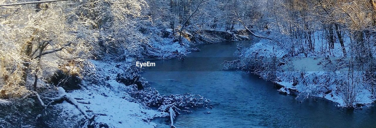 Panoramic shot of river amidst snow covered trees