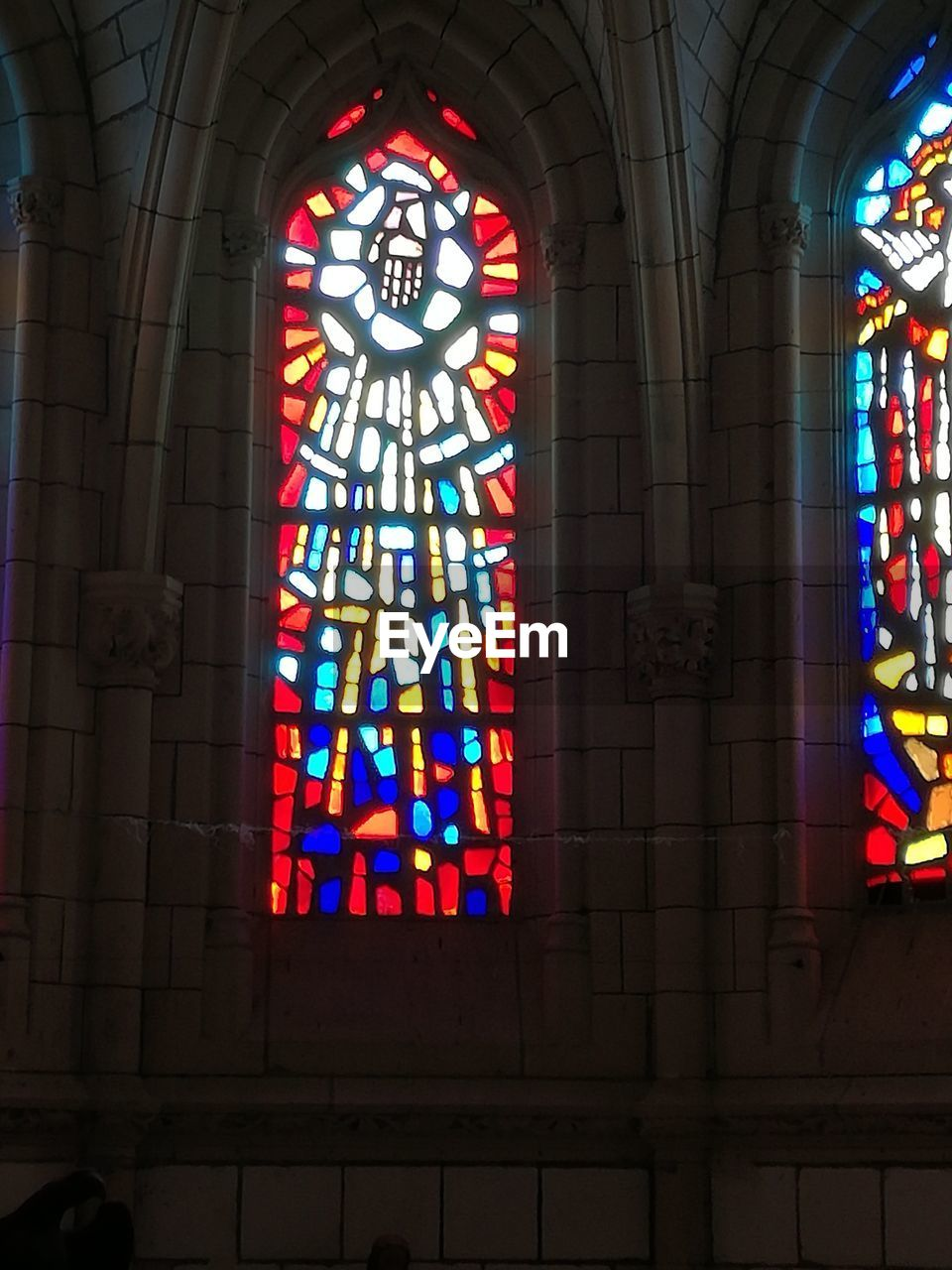 stained glass, religion, place of worship, window, multi colored, spirituality, indoors, architecture, built structure, no people, low angle view, day