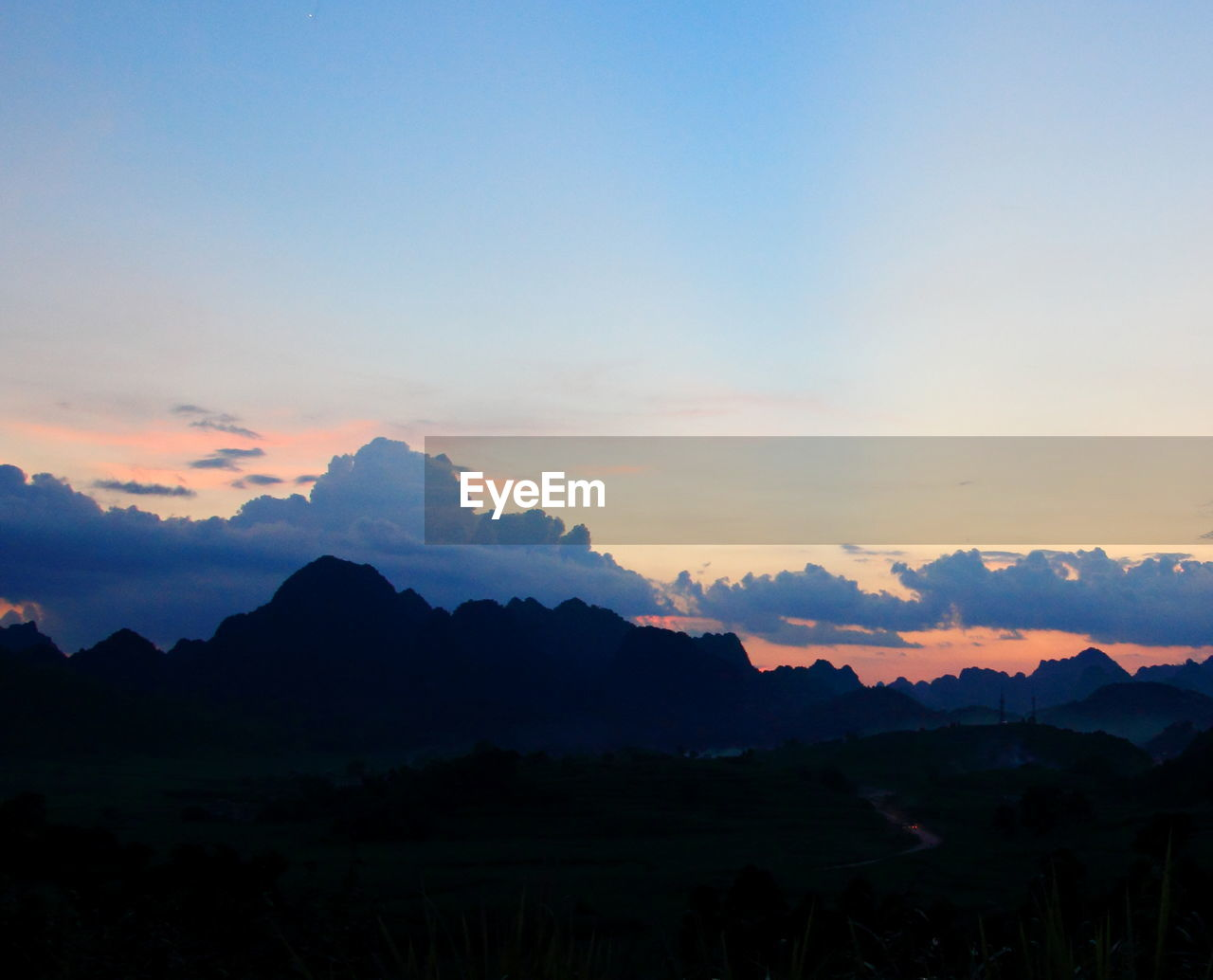 sunset, silhouette, nature, mountain, sky, no people, beauty in nature, landscape, outdoors, scenics, day