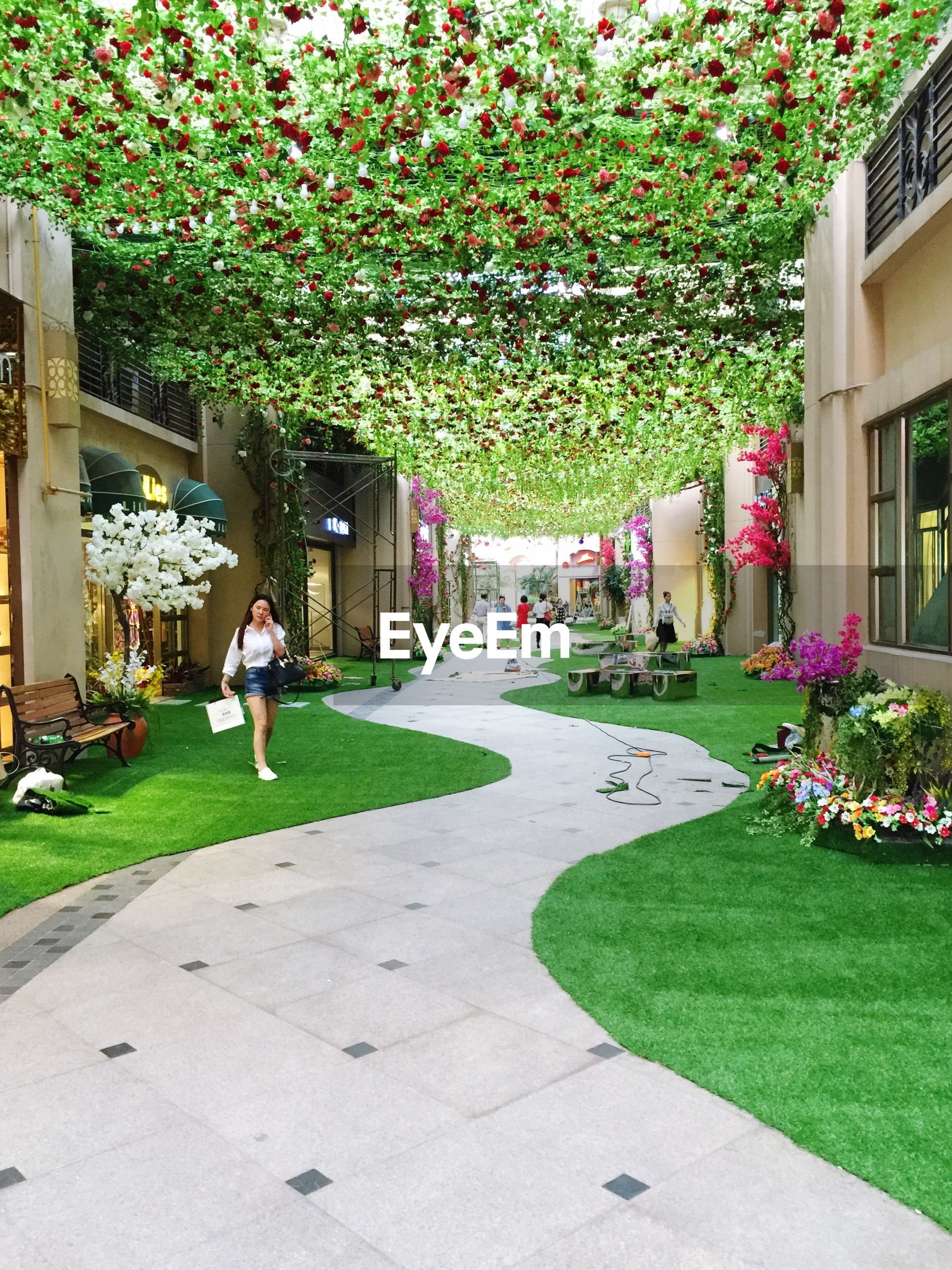 building exterior, grass, person, lifestyles, architecture, men, built structure, leisure activity, walking, tree, flower, lawn, park - man made space, full length, city, green color, sunlight, large group of people
