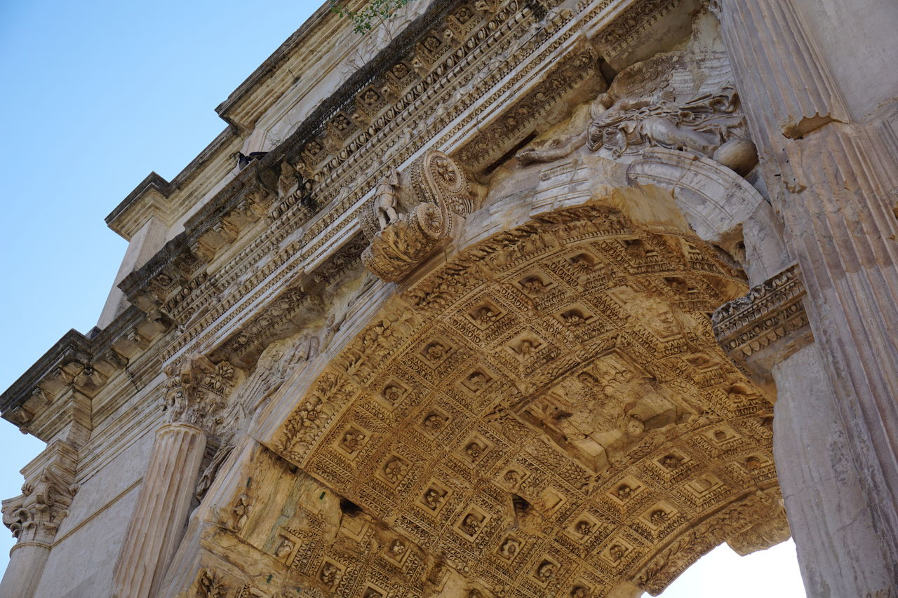 architecture, low angle view, built structure, the past, history, building exterior, travel destinations, architectural column, building, no people, sky, tourism, travel, ancient, craft, day, religion, art and craft, arch, belief, ancient civilization, ornate, archaeology, ceiling, carving