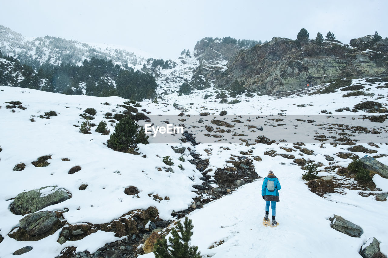 Rear view of person on snow covered mountain