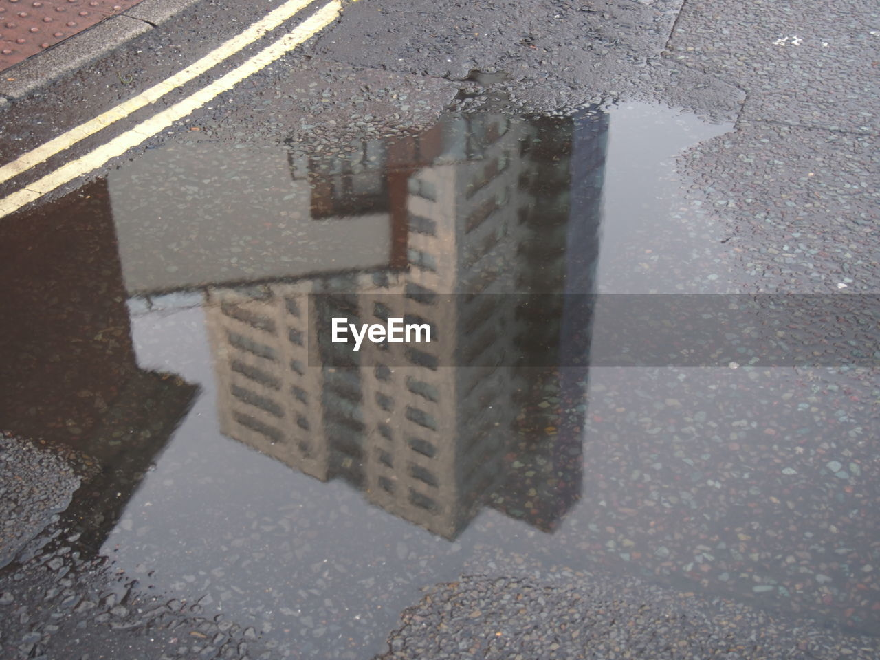 puddle, road, street, reflection, water, wet, asphalt, day, outdoors, no people, city, close-up