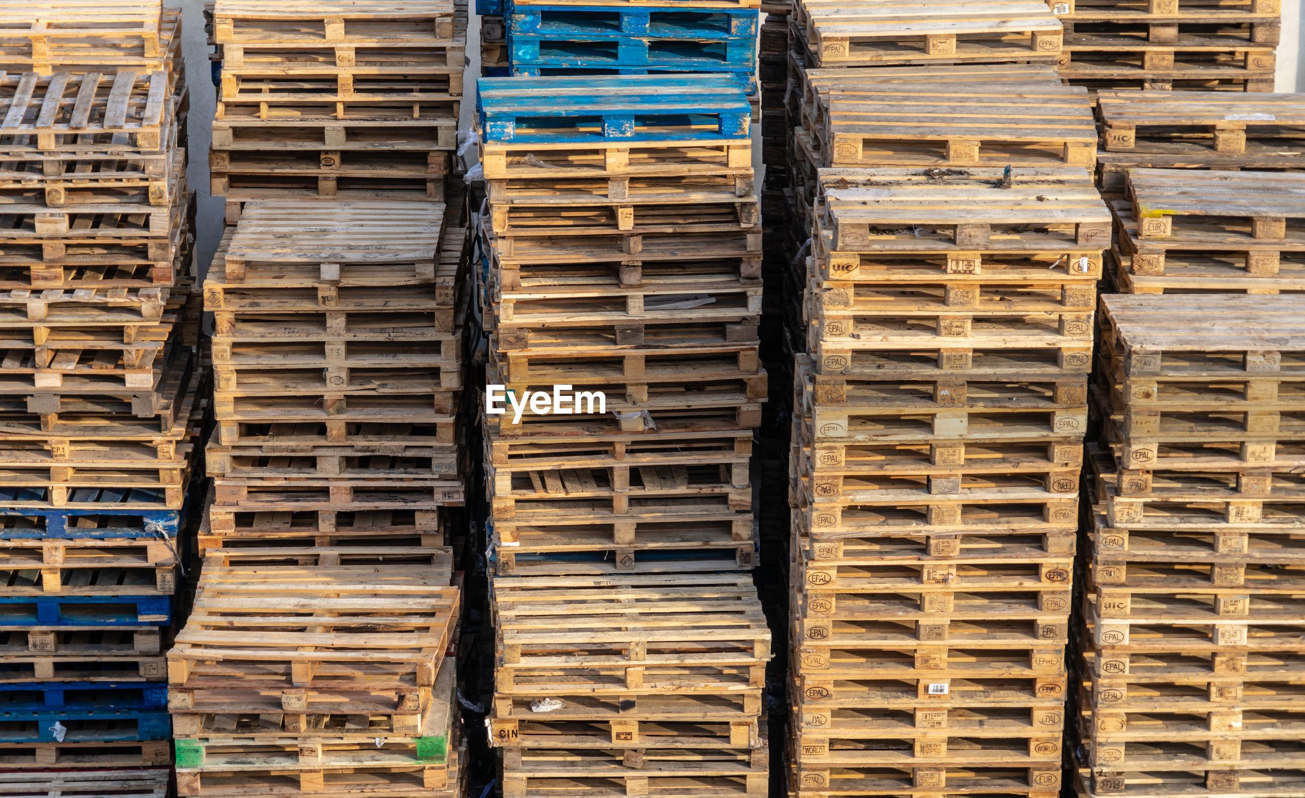 Full frame shot of euro pallets