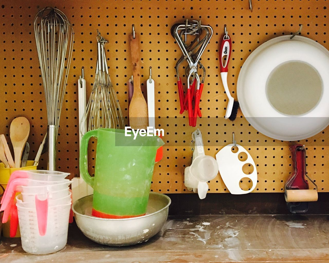 Close-up of equipment at kitchen counter