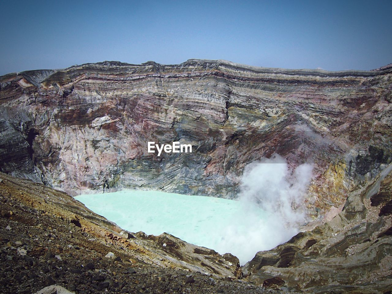 High Angle Shot Of Hot Spring Amid Rocky Landscape