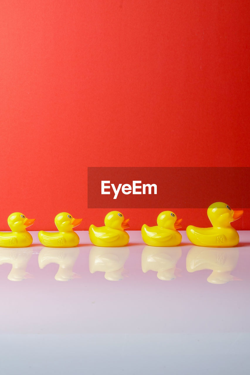 Close-up of rubber ducks on table against red background
