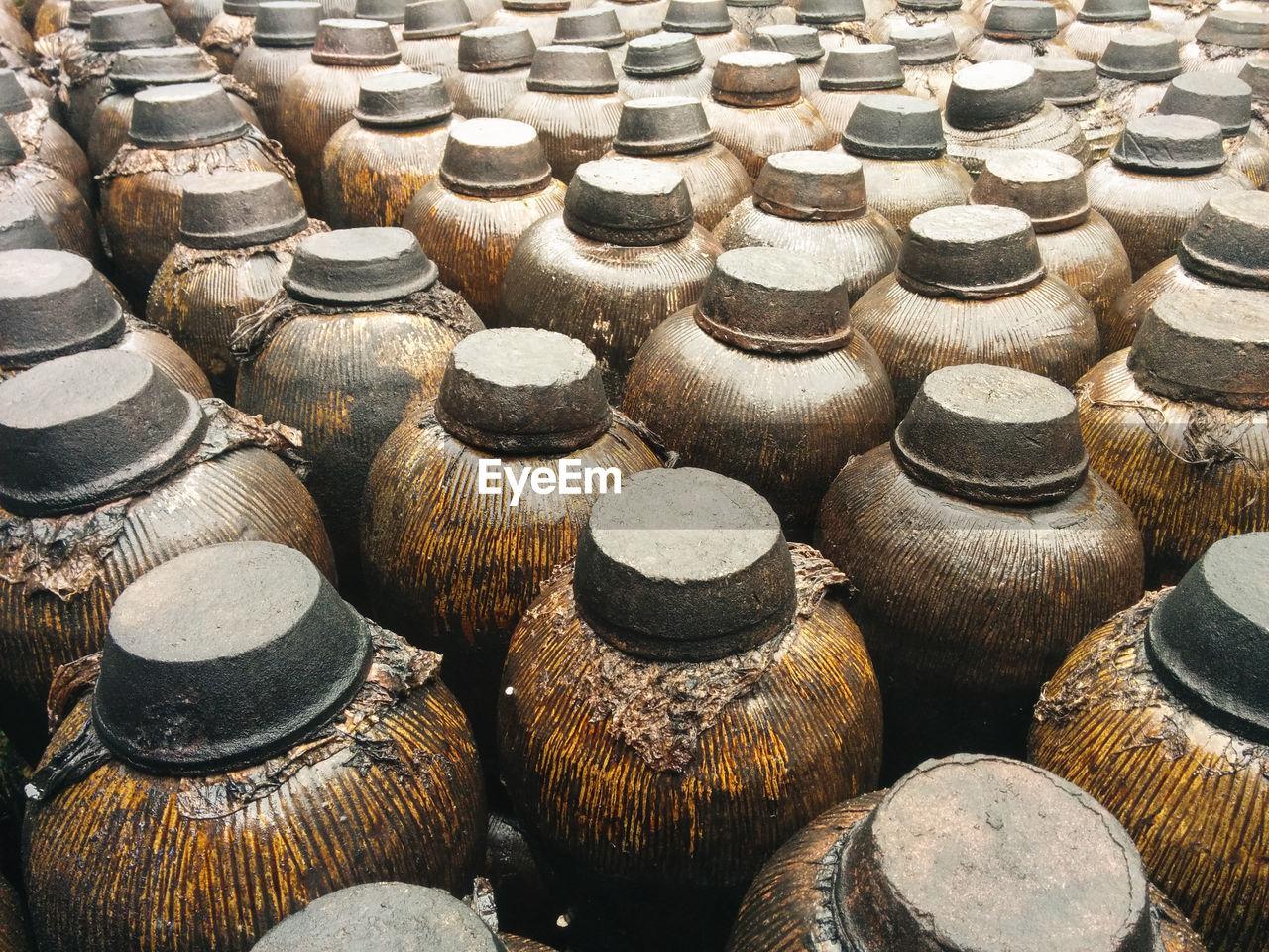 Jugs of distilled liquor at distillery in wuzhen