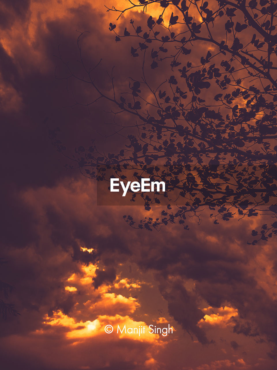 DIGITAL COMPOSITE IMAGE OF ORANGE SKY AND CLOUDS IN SUNSET