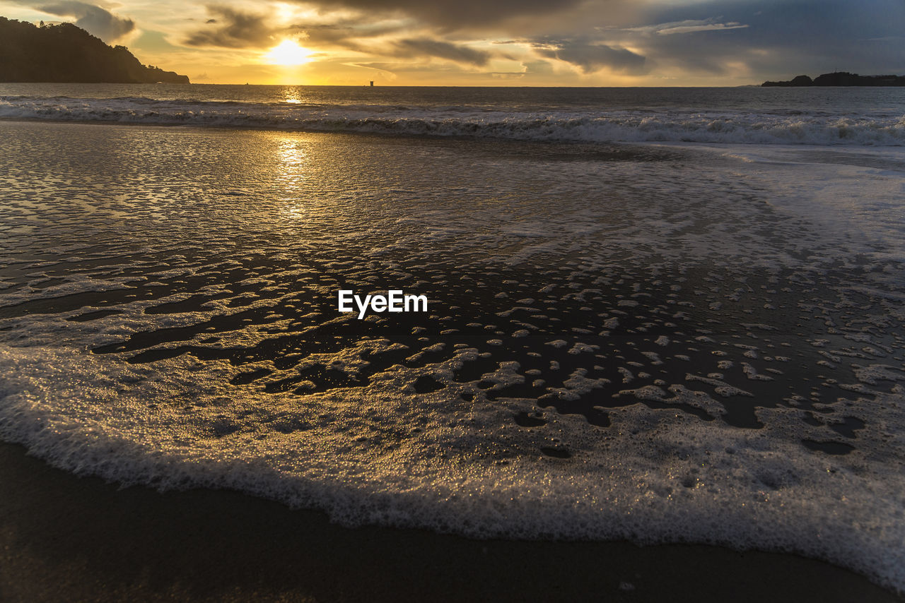 water, sunset, sea, sky, beauty in nature, beach, scenics - nature, land, cloud - sky, tranquility, tranquil scene, no people, nature, horizon over water, sand, idyllic, horizon, wave, outdoors
