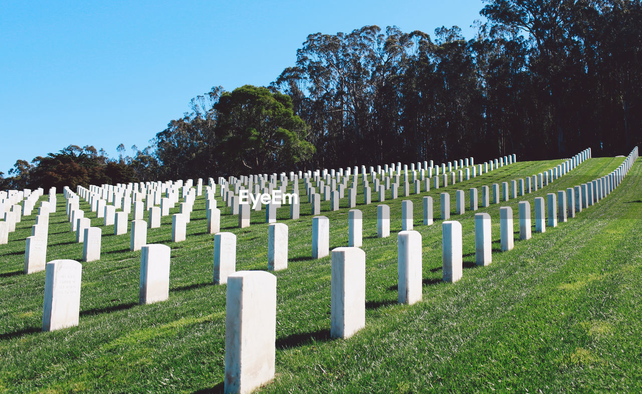 White Tombstones At Cemetery