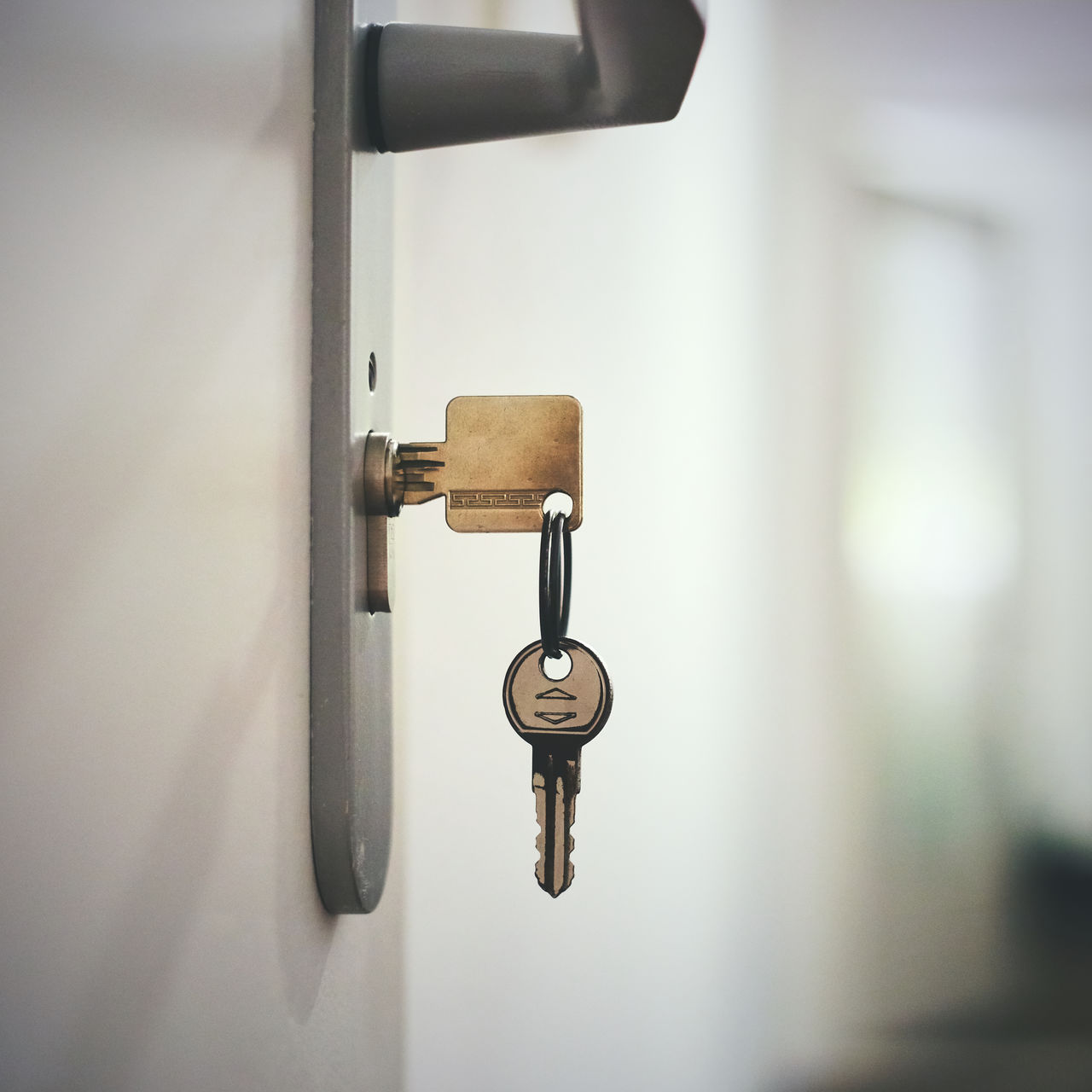 metal, entrance, door, no people, close-up, safety, focus on foreground, lock, indoors, security, protection, handle, key, selective focus, hanging, doorknob, keyhole, day, architecture, wall - building feature, latch