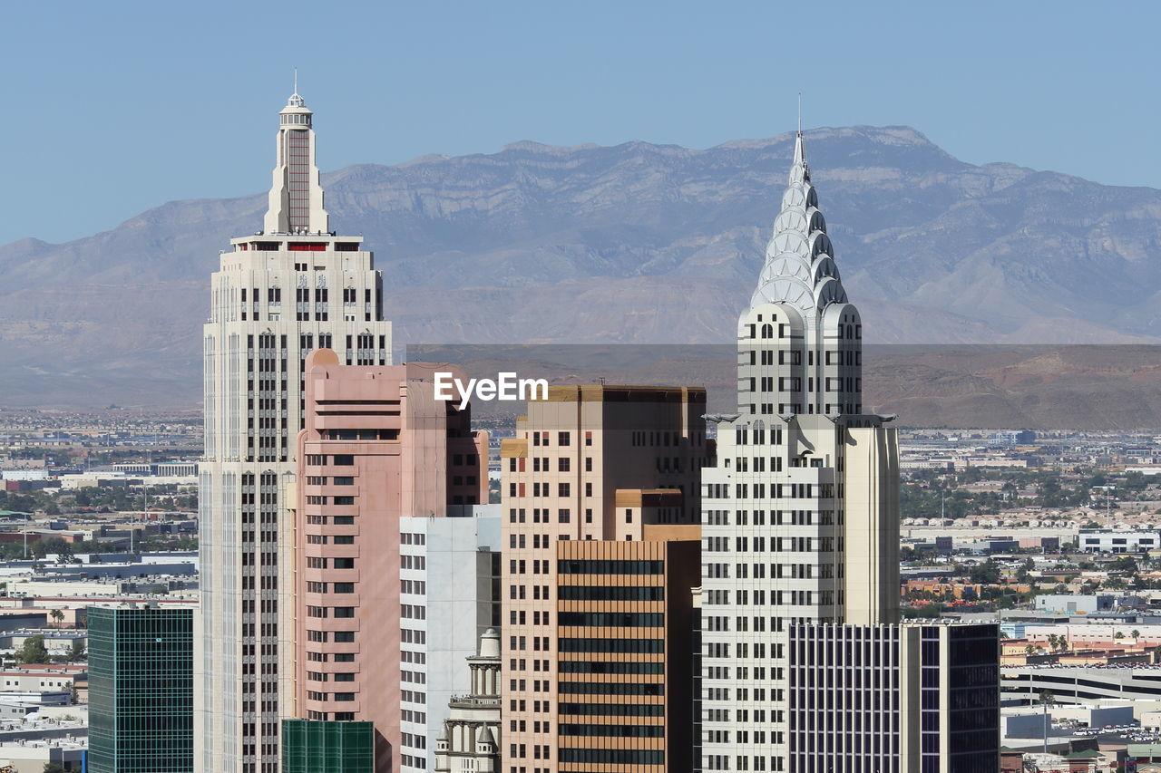 Las vegas skyline with mountain desert backdrop