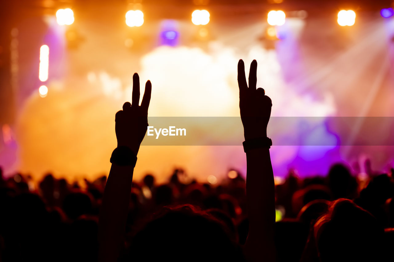 People with arms raised at music concert during night