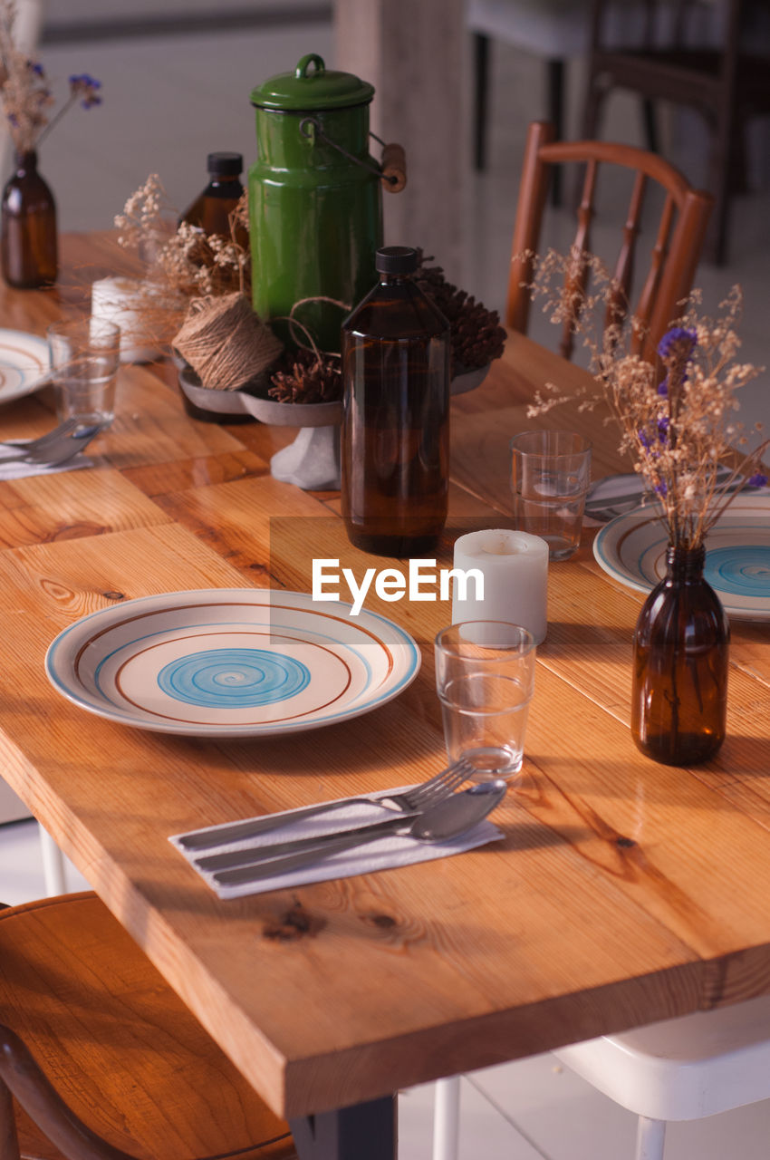 High Angle View Of Setting On Table At Restaurant