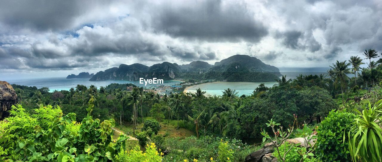 nature, scenics, sky, cloud - sky, sea, panoramic, mountain, beauty in nature, outdoors, tranquil scene, tree, green color, landscape, plant, day, no people, water