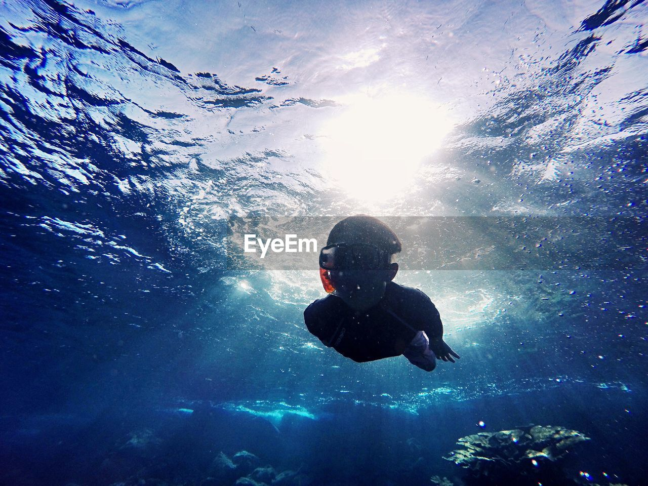 Boy Swimming In Water