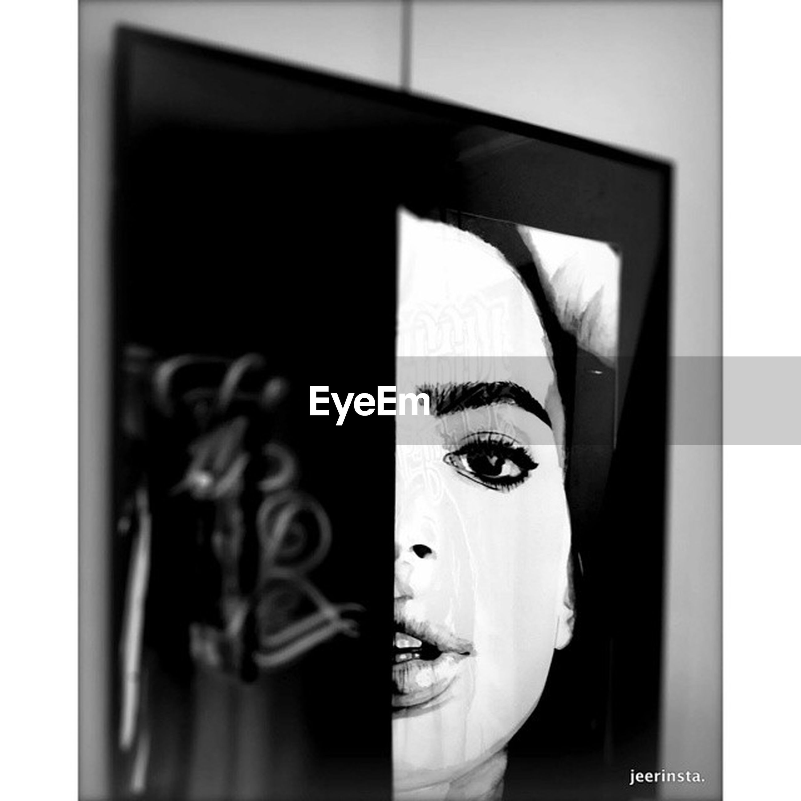 indoors, transfer print, auto post production filter, art and craft, art, human representation, creativity, close-up, wall - building feature, home interior, still life, animal representation, one person, ideas, studio shot, text, window, wall