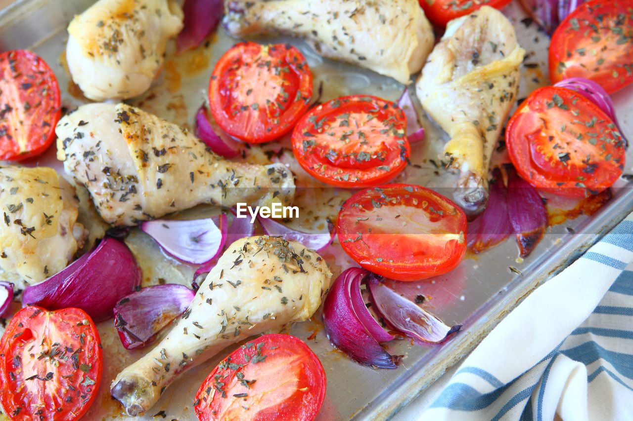 Overhead of chicken dinner with vegetables