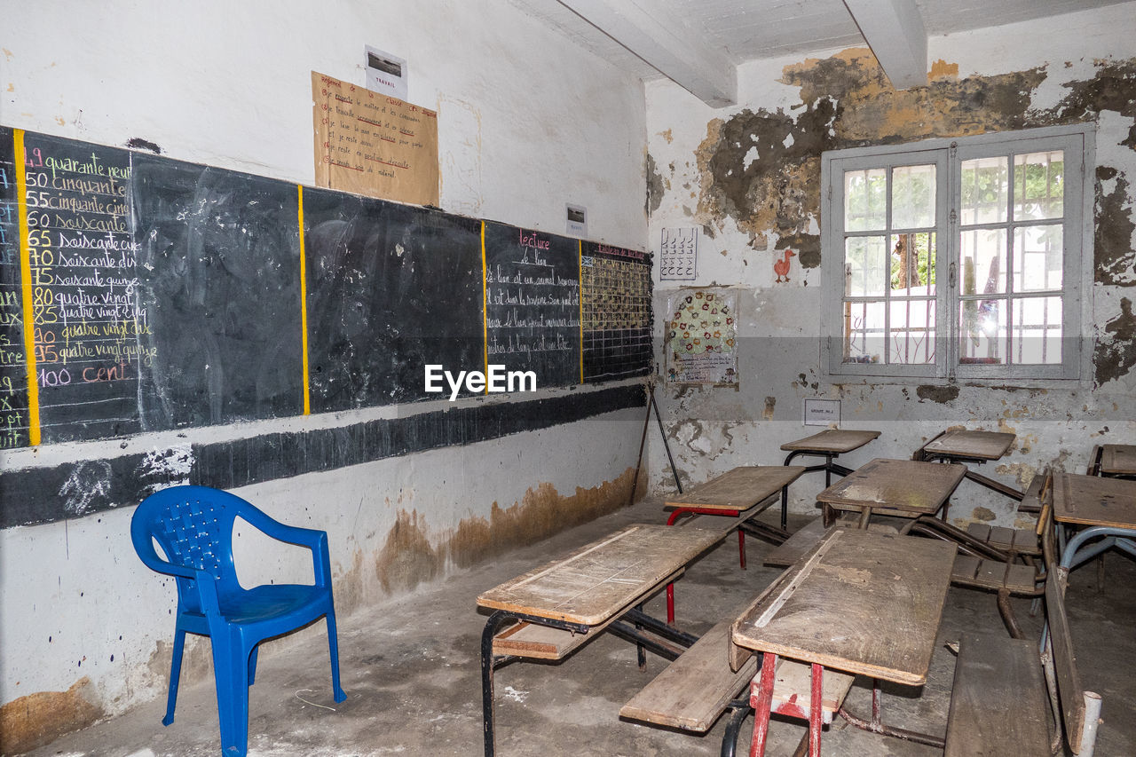 seat, indoors, window, wall - building feature, no people, architecture, built structure, empty, table, chair, furniture, classroom, absence, day, abandoned, school, graffiti, flooring, building, wall, messy