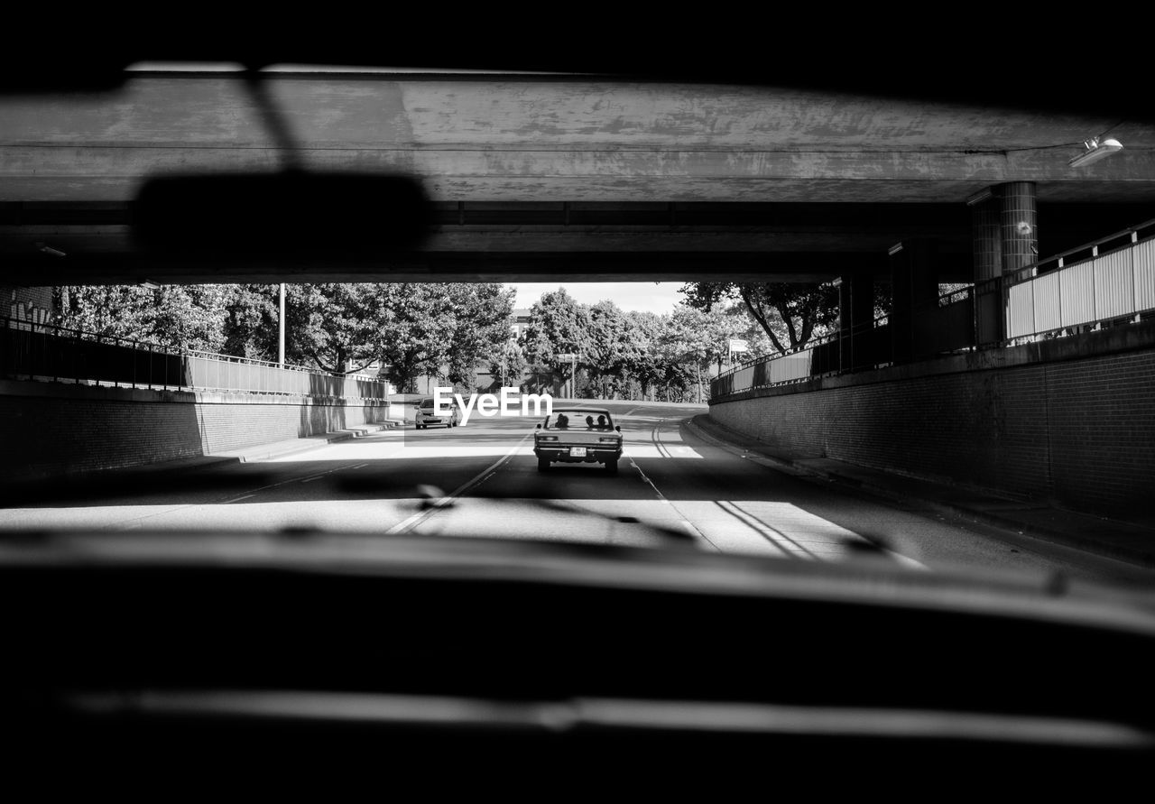 Cars On Road Seen Through Windshield