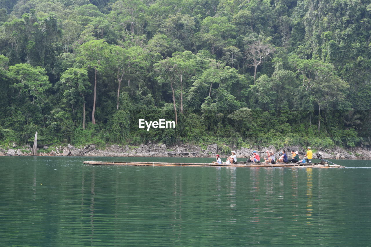 tree, group of people, water, plant, waterfront, nautical vessel, transportation, crowd, nature, day, men, large group of people, lake, real people, forest, beauty in nature, green color, growth, rowing, outdoors, rowboat