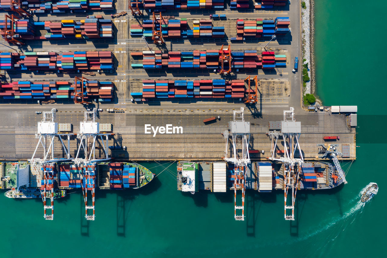 High angle view of commercial dock and shipping container