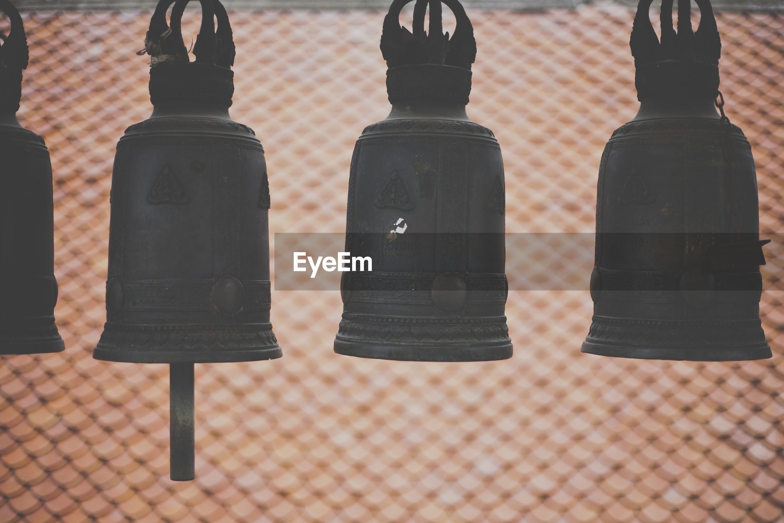 Close up of bells at temple