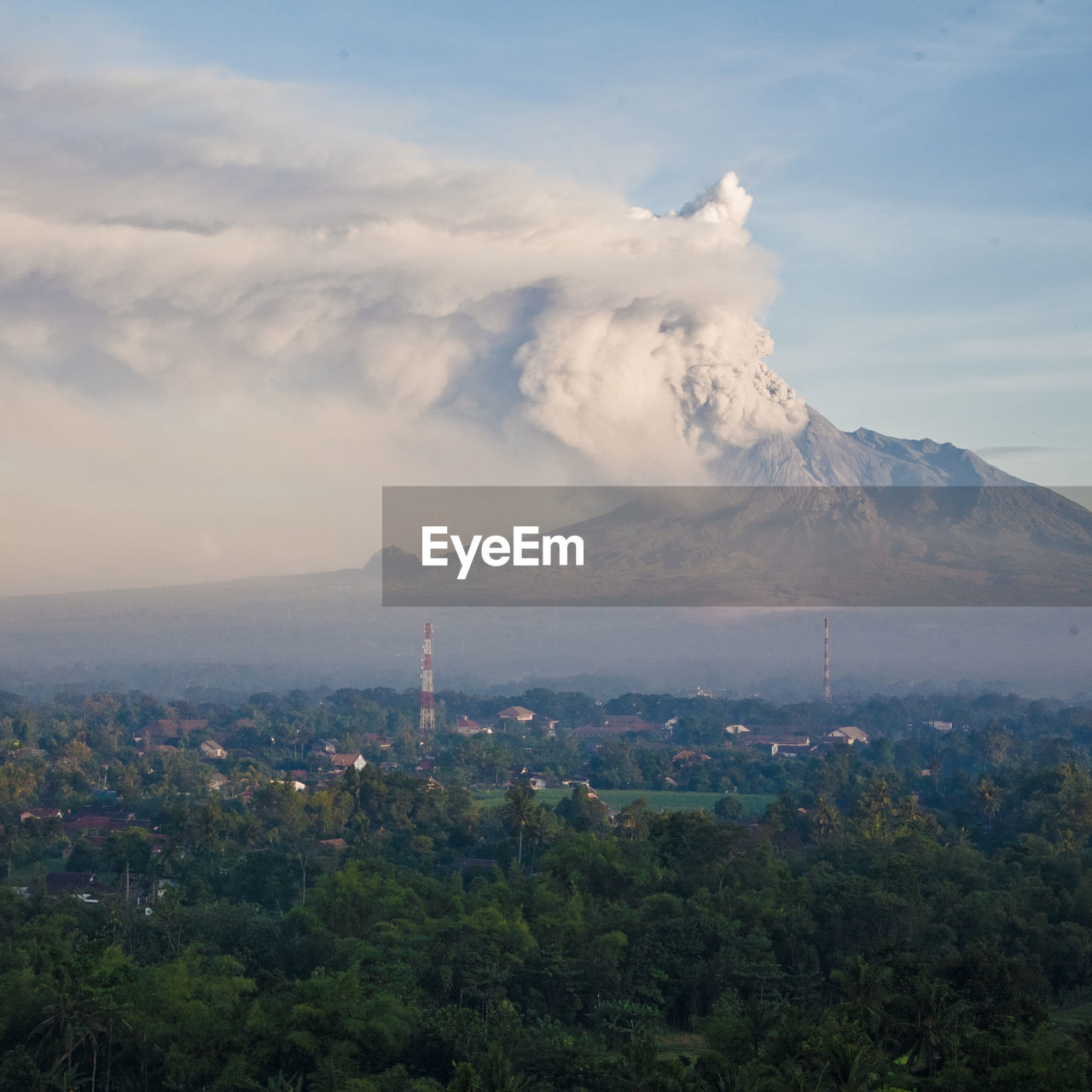 Scenic View Of Volcano Against Cloudy Sky