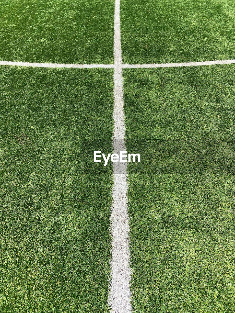 Chalk lines on a soccer field