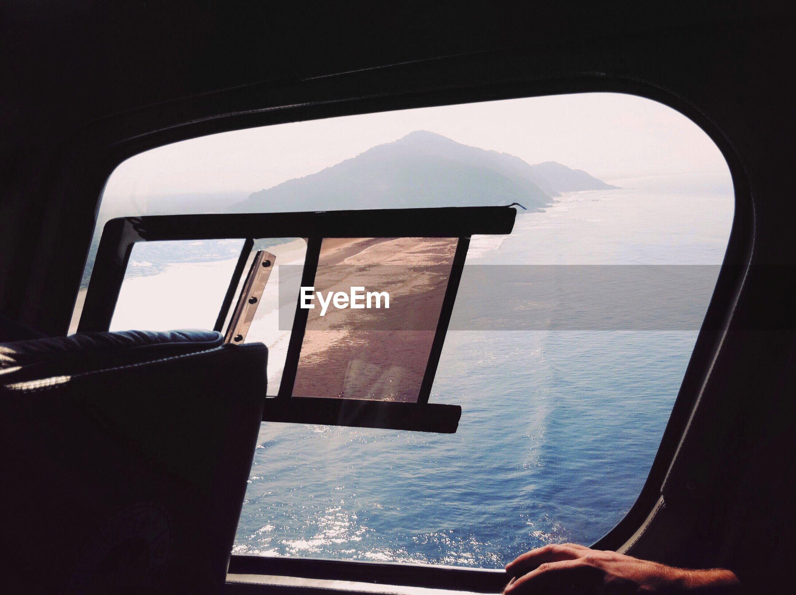 Sea seen through airplane window