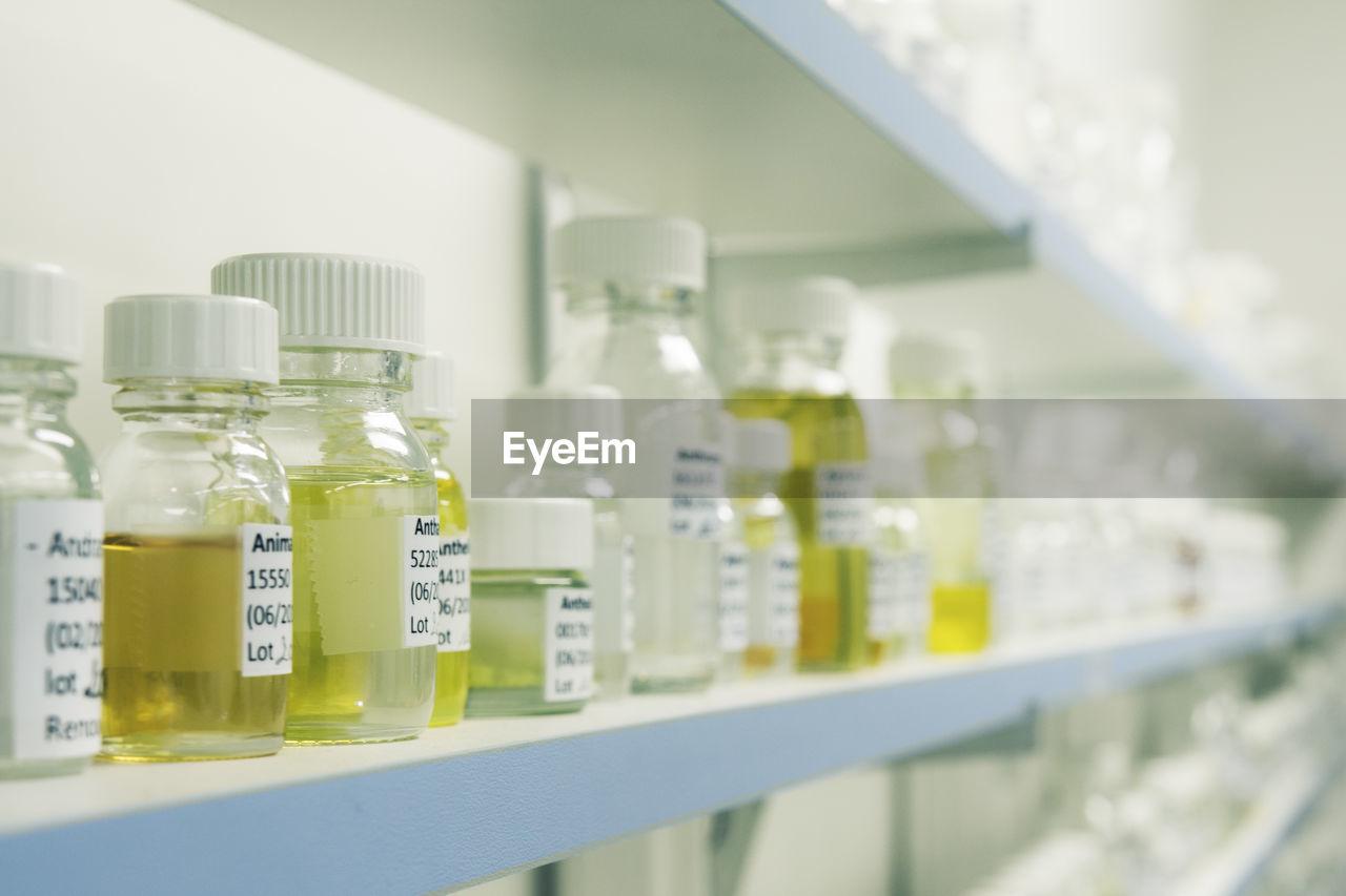 Close-up of medicine bottles on shelf