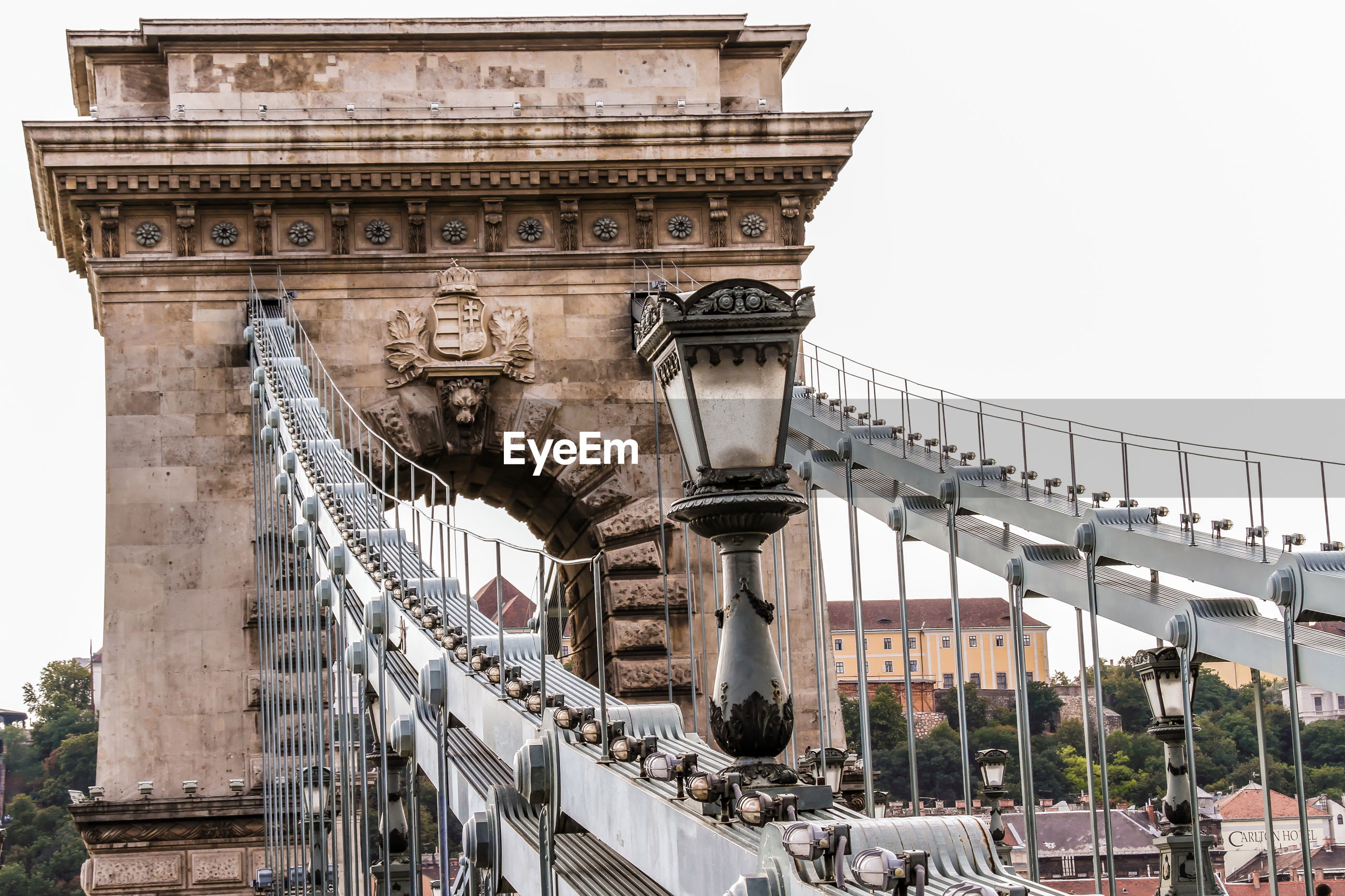 Low angle view of old chain bridge in budapest