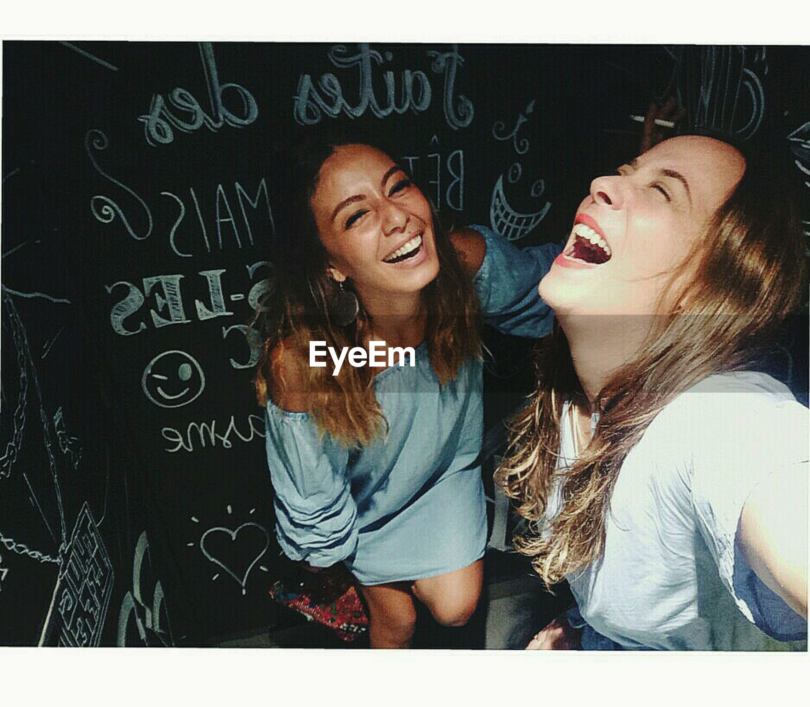 blackboard, togetherness, smiling, happiness, fun, friendship, laughing, enjoyment, two people, cheerful, bonding, young women, young adult, day, indoors, adult, people