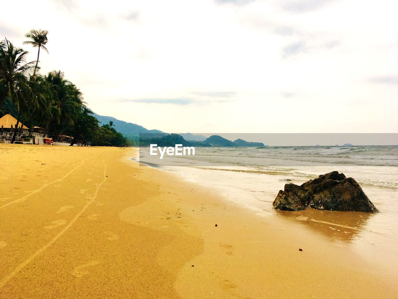 sea, water, sky, beach, land, tranquility, scenics - nature, tranquil scene, beauty in nature, tree, nature, rock, plant, sand, day, cloud - sky, no people, tropical climate, rock - object, outdoors, bay