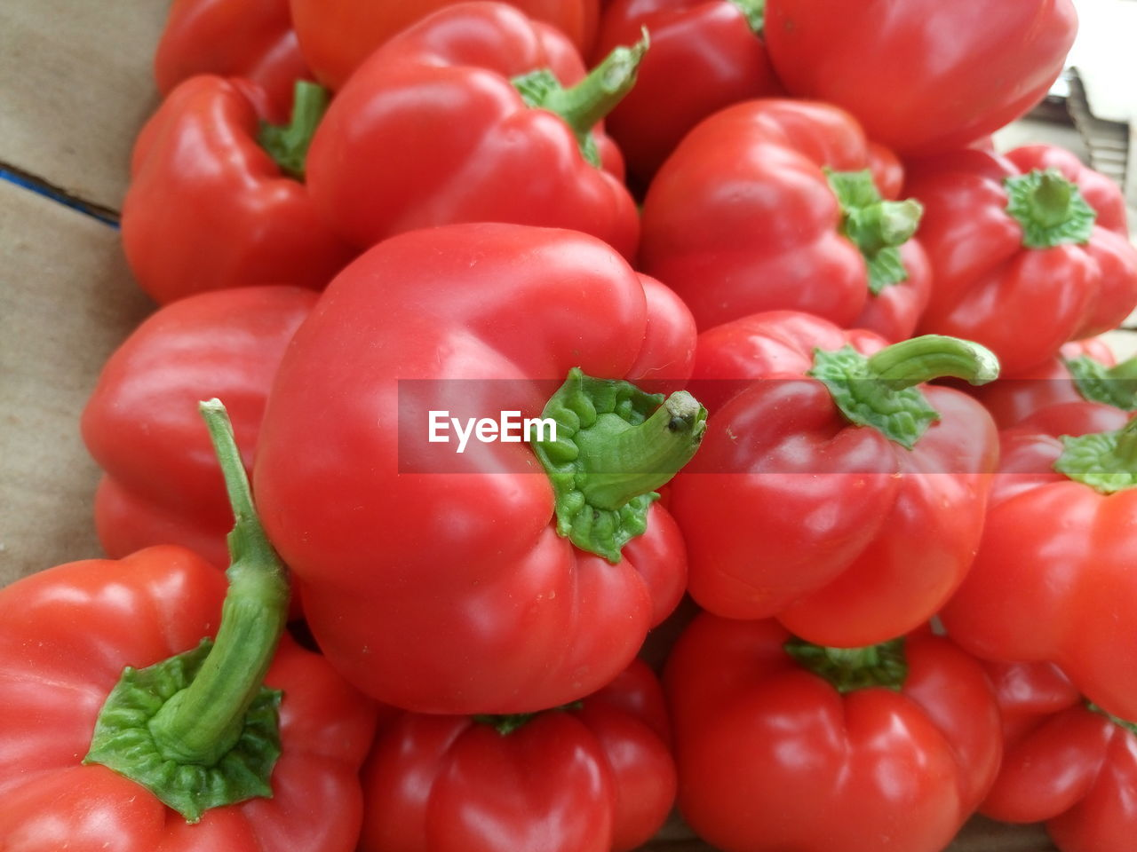 Close-up of red bell peppers at market