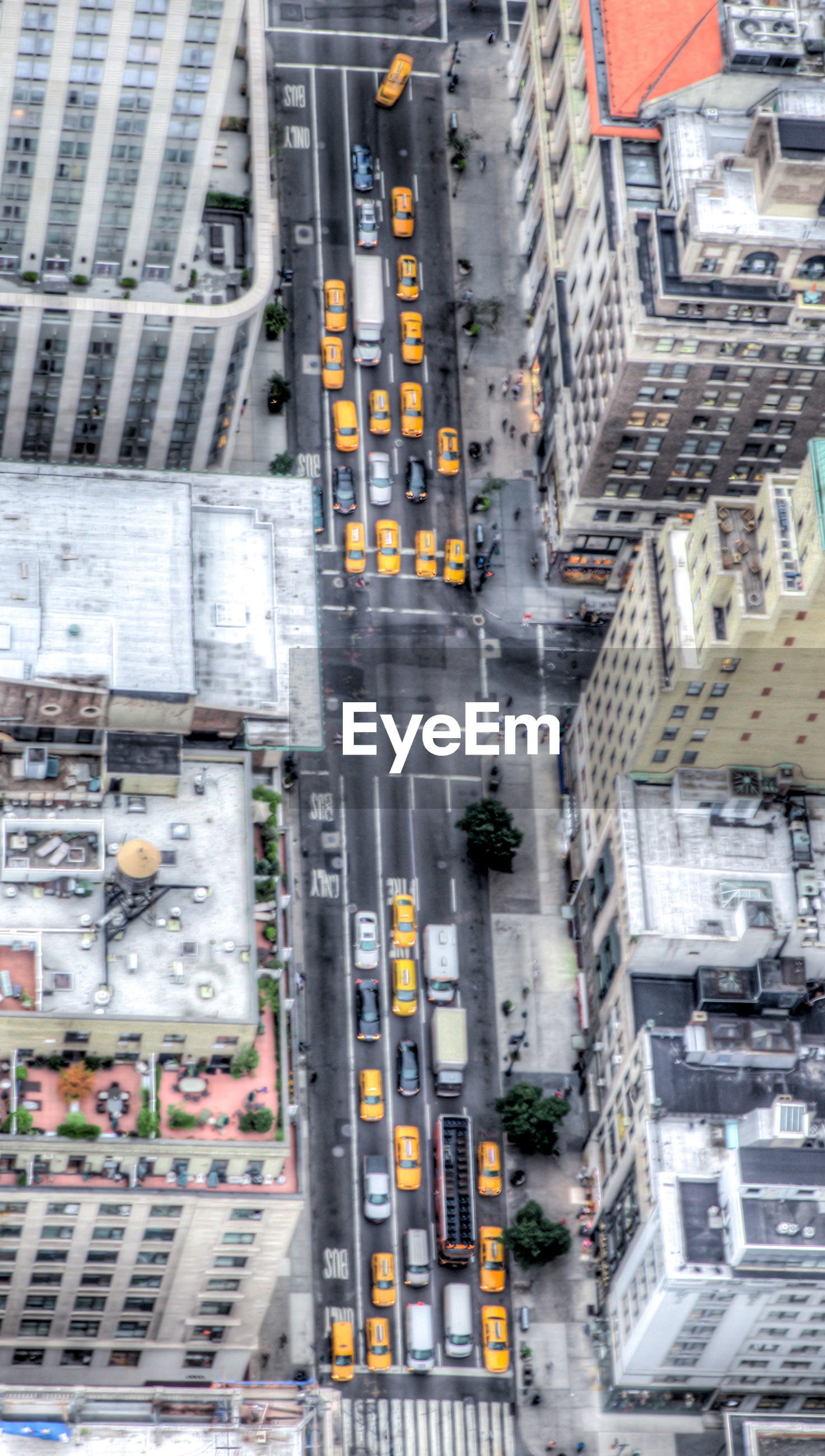 Aerial view of traffic on street